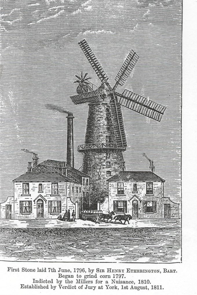 print of flour mill in Hull, England